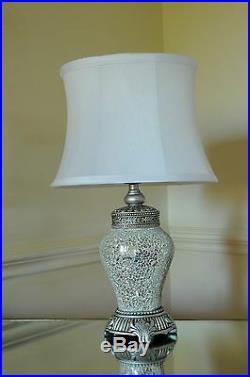Single Large Table Lamp 79cm Silver Sparkle Mosaic Base White Fabric Shade