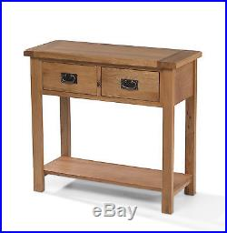 Solid Chunky Wood Rustic Oak Large Lamp Hall Console Table Aylesbury Range