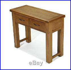 Solid Rustic Oak Large Telephone Lamp Hall Console Table Earlsbury Range