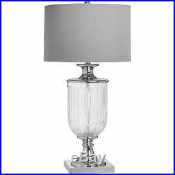 Stunning Large Gl Urn Base Table Lamp Silver Metal Detail Textured Shade