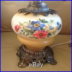Stunning Large Gone With The Wind Table Lamp Earthy Floral Color Pattern