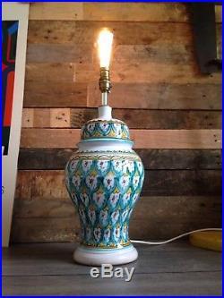 Stunning Large Vintage Faience Ware Table Lamp Base Retro Italian French Spanish