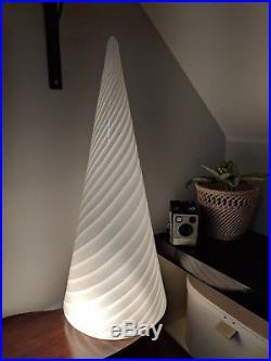Stunning Large Vintage Murano Glass Vetri Table Lamp Conical White Swirl Italian