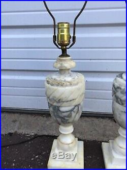 Stunning Pair of Matching Vintage Solid Marble Urn Table Lamps LARGE 18 TALL