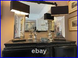 Superb Porta Romana Large Waterfall table lamp with PR silk shade rrp £2800 each