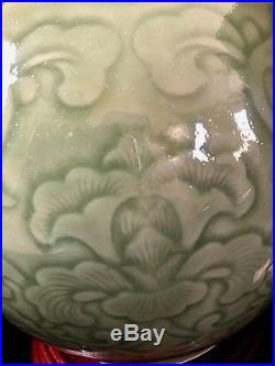 Table Lamp Large 15 Asian Celadon Green Vase Incised Hand Made Porcelain China
