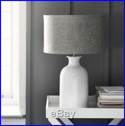 The White Company Ceramic Large Bottle Table Lamp White Grey