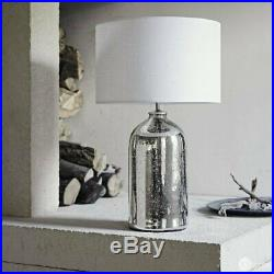 The White Company Mercury Large Bottle Table Lamp Silver Linen Shade RRP £180