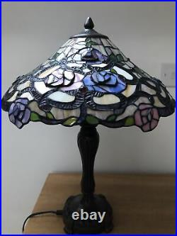 Tiffany Style Large Heavy Table Lamp Double Lamps Fabulous Condition
