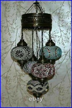 Turkish Moroccan Glass Mosaic Hanging Ceiling Pendant Lamp Light 5 Large Globe