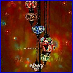 Turkish Moroccan Glass Mosaic Multicolour Tiffany Floor Lamp Light 7 Large Globe