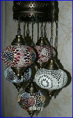 Turkish Moroccan Mosaic Hanging Ceiling Chandelier Lamp Light 5 Large Globe