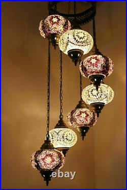 Turkish Moroccan Mosaic Hanging Ceiling Chandelier Lamp Light 7 Large Globe