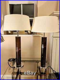 Two Chelsom Large Glass Table Lamps RRP £227 (each) Oval Silk Shade (incl)