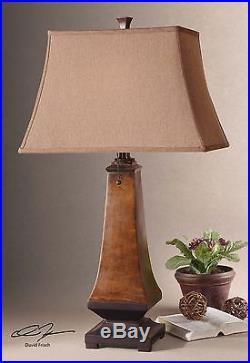 Two Large 30 Rustic Mottled Brown Table Lamp Silken Shade Reading Desk Light