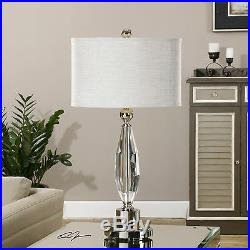 Two Large 31 Rich Cut Crystal Table Lamp Brushed Nickel Accents Reading Light