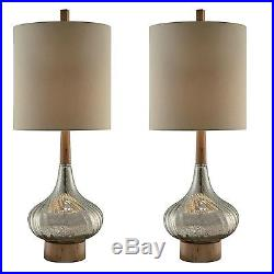 Two Large 36 Mercury Glass Wood Style Table Lamp Tan Linen Shade Vintage Modern