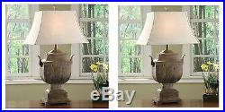 Two Large Urn Style Rustic Wood Resin Finish Table Lamp Linen Shade Desk Light