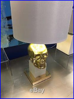 Two Stunning Skull Table Lamp Large Silk Shade Rich Gold Mecury & White Light