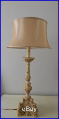 V Large Vintage French Table Lamp & Silk Shade
