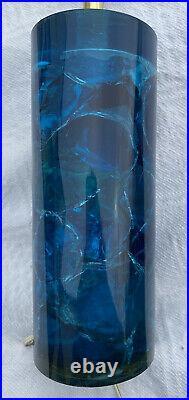 VINTAGE 1960s 1970s LARGE BLUE SHATTERLINE CRUSHED ICE PLASTIC RESIN LAMP LIGHT