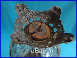 VINTAGE 50s LARGE GLOBE HAND BLOWN GLASS DIAMOND PATTERN METAL MOUNT TABLE LAMP