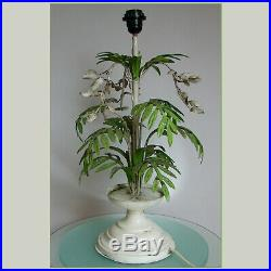 VINTAGE 60's ITALIAN TOLE PALM LEAVES LARGE TABLE LAMP SHABBY CHIC LIGHT