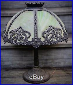 VINTAGE Arts Crafts Extra Large Antique Green Slag Glass Table Lamp Fancy Base