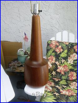 VINTAGE LARGE DANISH MODERN TEAK TABLE LAMP 1960's 70's MID-CENTURY MODERN