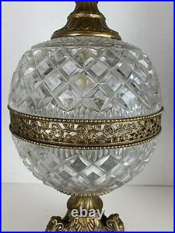 VINTAGE Large Ornate Genuine Lead Crystal & Brass Table Lamp Made in Germany