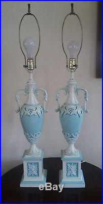 VINTAGE PAIR Large French Neo Classical Blue & White URN Enameled Table Lamps