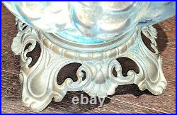 VTG Mid-Century Table LampBlue Glass GlobeFalkensteinAccurate Castings Base