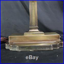 Very Large Heavy Vintage Art Deco Industrial Fluorescent Banker Table Desk Lamp