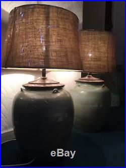 Very Large Pair Lamps Pottery Barn and Burlap Drum Shades from San Francisco