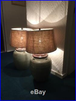 Very Large Pair Lamps and Burlap Drum Shades by Pottery Barn of San Francisco