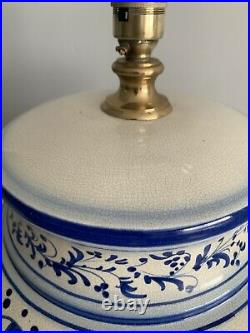 Very large lamp blue & white antique table lamp 64cm