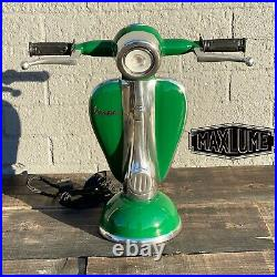 Vespa LARGE GREEN SCOOTER DIMMABLE LED TABLE LAMP RETRO ROCKS MODS