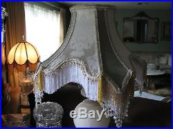 Victorian French Large Floor Table Lamp Shade Elegance Beads Fringe Tassels