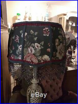 Victorian French Large Floor Table Lamp Shade Heiress Grey Flower Print
