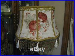 Victorian French Large Floor Table Lamp Shade Heiress Red Rose Bead Fringe