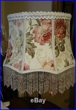 Victorian French Large Floor Table Lamp Shade Heiress Rose Bead Fringe