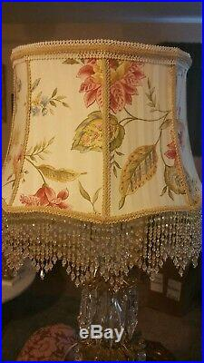 Victorian French Large Floor Table Lamp Shade Heiress Spring Flower Print