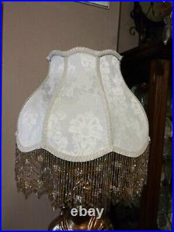 Victorian French Large Floor Table Lamp Shade Ivory Bead Fringe Look