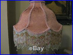 Victorian French Large Floor Table Lamp Shade Poppy Rose Bead Fringe