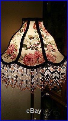 Victorian French Large Floor Table Lamp Shade Poppy Rose Garden Bead Fringe