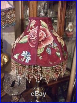 Victorian French Large Floor Table Lamp Shade Wine and Roses Bead Fringe Look