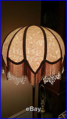 Victorian French Large Table Lamp Shade Cream Rosalee Beads Fringe Tassels
