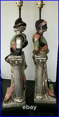Vintage 1958 Pair Male & Female Harlequin 36 Table Lamps Quartite Creations