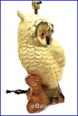 Vintage 1960's MCM Large Owl on Log Table Lamp Ceramic 21 #1