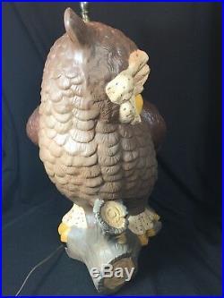 Vintage 70s Mid Century Atlantic Mold Large Owl Table Lamp Handpainted